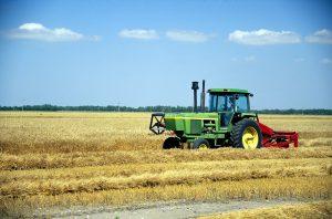 Tractor harvesting grain, North Dakota